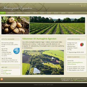 Munkagårds Egendom, jordgubbar, potatis, spannmål och hästar
